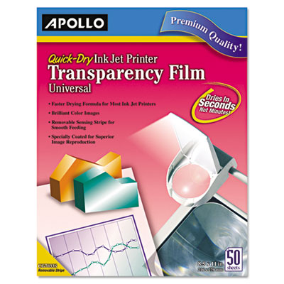 Apollo® Universal Quick-Dry Inkjet Printer Transparency Film