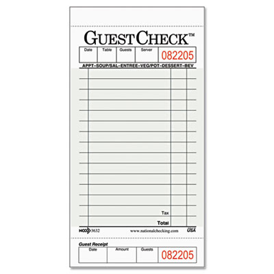 National Checking Company Guest Check Pad With Customer