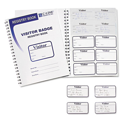 C-Line® Visitor Badges with Registry Log