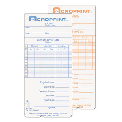 Acroprint® Cards for Model ATR240 and ATR360 Top Loading Time Clocks