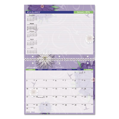 AT-A-GLANCE® Paper Flowers Monthly Desk/Wall Calendar