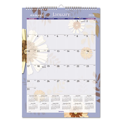 AT-A-GLANCE® Paper Flowers Monthly Wall Calendar