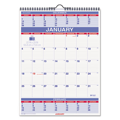 AT-A-GLANCE® Three-Month Wall Calendar