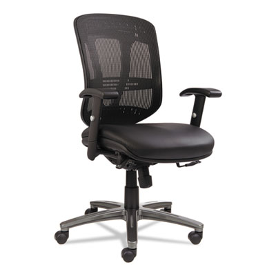Alera® Eon Series Multifunction Mid-Back Leather/Mesh Chair