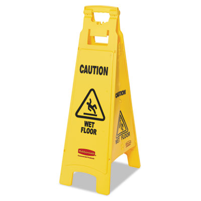 """Rubbermaid® Commercial """"Caution Wet Floor"""" 4-Sided Floor Sign"""
