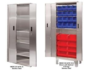 HEAVY DUTY BI-FOLD DOOR CABINETS - STAINLESS STEEL