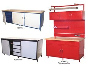 "CABINET STYLE WORKBENCHES WITH 1-3/4"" WOOD COMP TOP"