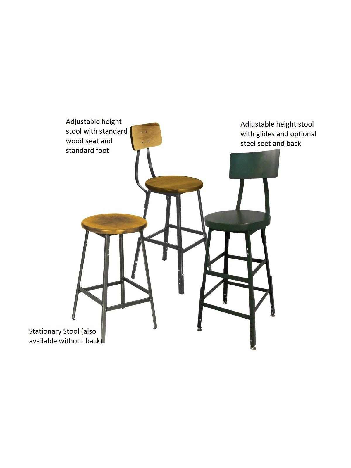Industrial Shop Stools With Backrest At Nationwide