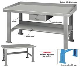"STEEL TOP INDUSTRIAL WORK BENCHES - 32-1/2"" HIGH"