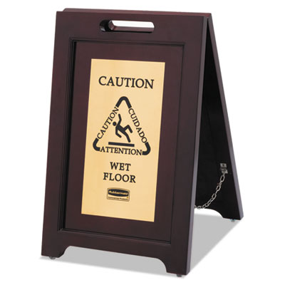 Rubbermaid® Commercial Executive 2-Sided Multi-Lingual Wooden Caution Sign