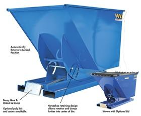 BUMPER RELEASE STEEL HOPPERS: 2000 to 6000 (lbs) Cap, 1 to 3 Cu. Yds.
