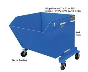 2000 (lbs) Cap PORTABLE STEEL HOPPERS WITH CASTERS: 0.5 to 1.5 Cu. Yds