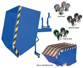 90� Tilt LOW PROFILE STEEL HOPPERS WITH OPTIONAL CASTERS AND LIDS: 1/4 to 1-1/2 Cu. Yds,  2000 (lbs), 4000 (lbs) and 6000 (lbs)