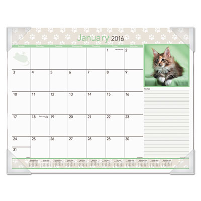 AT-A-GLANCE® Kittens Recycled Monthly Desk Pad