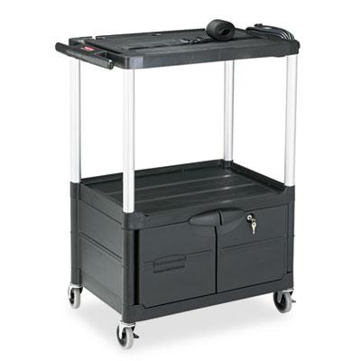 Rubbermaid® Commercial MediaMaster® Three-Shelf AV Carts with Cabinet