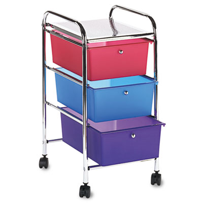 Advantus® Portable Three-Drawer Organizer, Multi-Colored