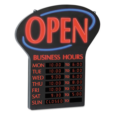 Newon® LED Open Sign with Business Hours