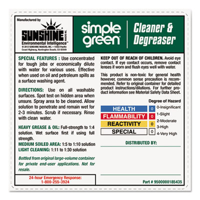 simple green® All-Purpose Cleaner Secondary-Container Labels