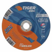 Weiler® Tiger Zirc Z24S Ceramic Infused Depressed Center Grinding Wheel