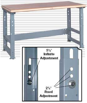 ADJUSTABLE SLIDE BOLT WORK BENCHES