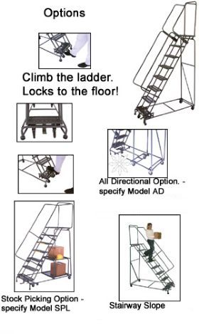WEIGHT-ACTUATED ROLLING SAFETY LADDERS