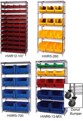 CHROME WIRE SHELVING UNITS WITH BINS