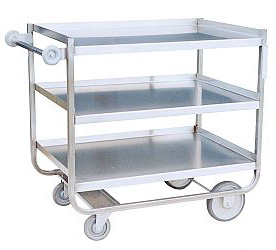 "Model XG - Stainless ""U"" Frame With 3 Shelves (8"" & 5"" wheels)"