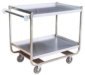 "Model XM - Stainless ""U"" Frame With 2 Shelves (5"" wheels)"