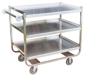 "Model XN - Stainless ""U"" Frame With 3 Shelves (5"" wheels)"
