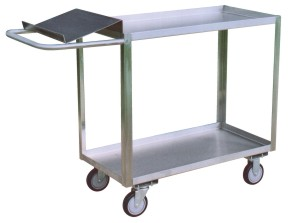 Model XO - Stainless Steel 2 Shelf Writing Stand Cart