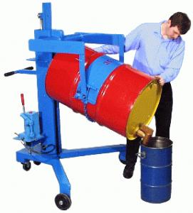 DRUM PALLETIZER WITH LIFT AND POUR