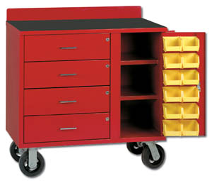 RED MOBILE BIN CABINET