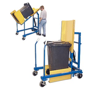 "MANUAL & ELECTRIC HYDRAULIC TRASH CAN DUMPERS: 48"" Dump height with 400 (lbs) Cap."