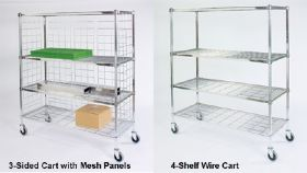 4- SHELF WIRE CARTS & 3-SIDED CARTS