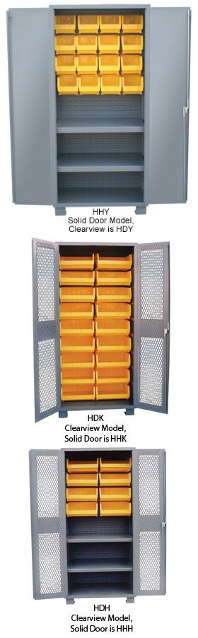 PLASTIC BIN 14 GAUGE WELDED CABINETS - SOLID & CLEARVIEW MODELS