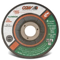 "CGW Abrasives Fast Cut Depressed Center Wheels - 1/4"" Grinding, Type 27"