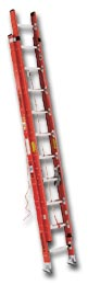 EXTRA HEAVY DUTY FIBERGLASS FLAT D-RUNG EXTENSION LADDER