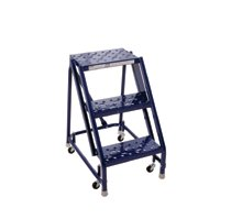 GSW Series Steel Rolling Warehouse Ladder w/ Handrails