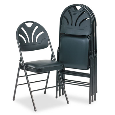 Cosco® Fanfare™ Fabric Padded Seat & Deluxe Molded Back Folding Chair