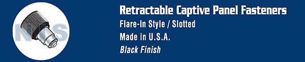 Retractable Captive Panel Fastener Flare In Style Black Finish
