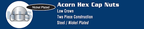 Two Piece Low Crown Cap Nut Nickel Plated