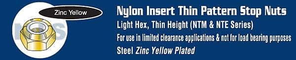Thin Pattern Nylon Insert Hex Lock Nut Fine Thread Zinc Yellow