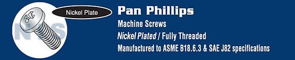 Phillips Pan Machine Screw Fully Threaded Nickel
