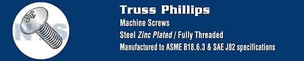 Phillips Truss Machine Screw Fully Threaded Zinc