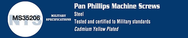 MS35206 Military Phillips Pan Machine Screw Cadmium