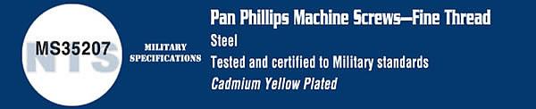 MS35207 Military Phillips Pan Machine Screw Cadmium