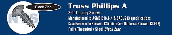 Phillips Truss Self Tapping Screw Type A Fully Threaded Black Zinc And Bake