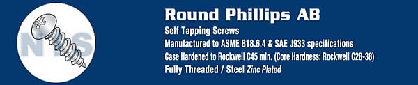 Phillips Round Self Tapping Screw Type A B Fully Threaded Zinc And Bake