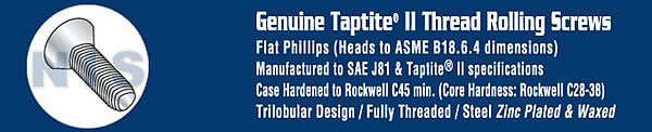 Phillips Flat Taptite Thread Rolling Screw Fully Threaded Zinc, Bake And Wax