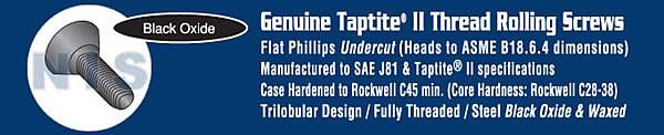 Phil Flat Undercut Taptite Thread Rolling Screw Full Thread Black Oxide And Wax